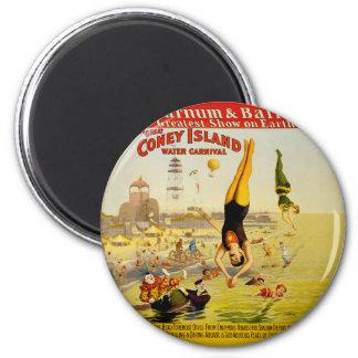 Coney Island Sideshow Poster 6 Cm Round Magnet