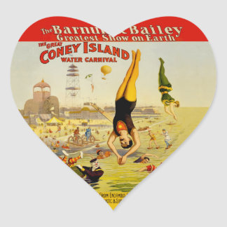 Coney Island Sideshow Poster Heart Sticker