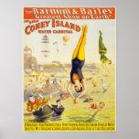 Coney Island Vintage Circus Acrobats Poster