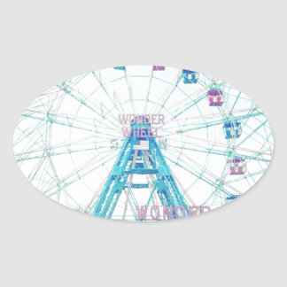 Coney Island Wonderwheel Ferris Wheel in Summer Oval Sticker