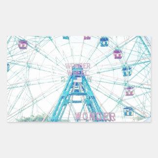 Coney Island Wonderwheel Ferris Wheel in Summer Rectangular Sticker