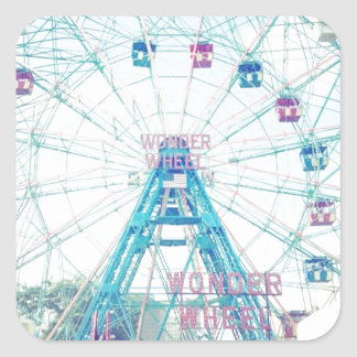 Coney Island Wonderwheel Ferris Wheel in Summer Square Sticker
