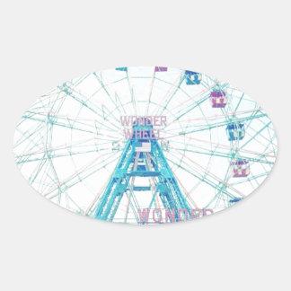 Coney Island Wonderwheel Ferris Wheel in Summer Oval Stickers