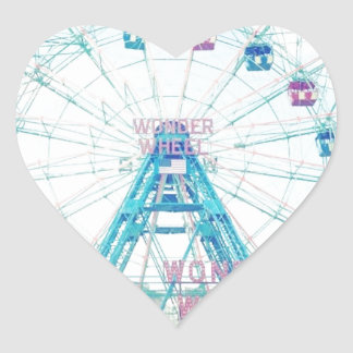 Coney Island Wonderwheel Ferris Wheel in Summer Heart Sticker