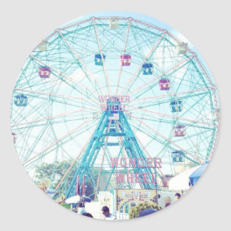 Coney Island Wonderwheel Ferris Wheel in Summer Round Stickers