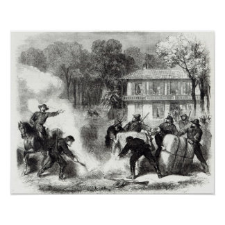 Confederate cotton burners near Memphis Print