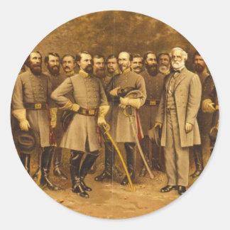 Confederate General Robert E. Lee and his Generals Classic Round Sticker
