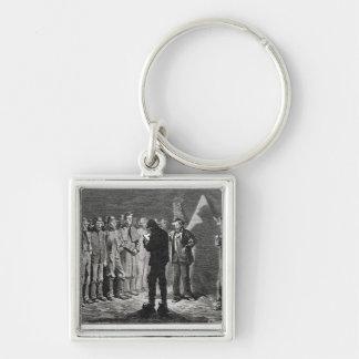 Confederate Roll-call Silver-Colored Square Key Ring