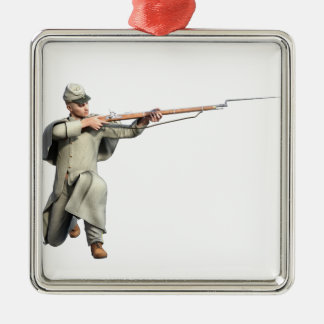 Confederate Soldier Guard with Rifle Kneeling Christmas Ornament