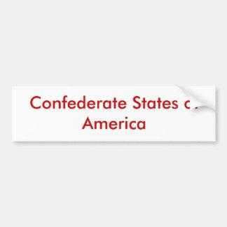 Confederate States of America Car Bumper Sticker