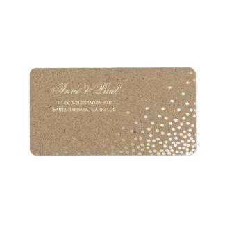 Confetti and kraft paper Address Labels