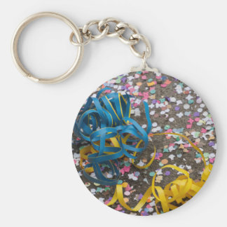 confetti and streamers at carnival basic round button key ring