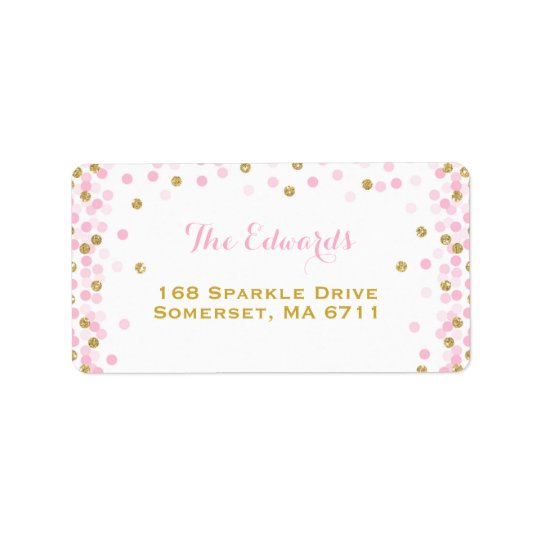 Confetti Baby Shower Address Labels Pink And Gold