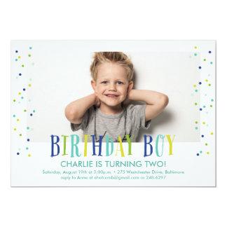 Confetti Birthday Boy Photo Invitation