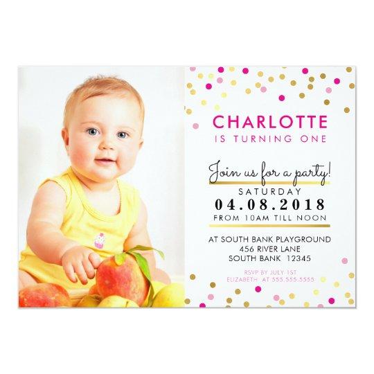 CONFETTI birthday party INVITE pink gold spot girl
