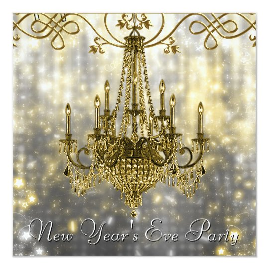 Confetti Black Gold Chandelier New Years Eve Card