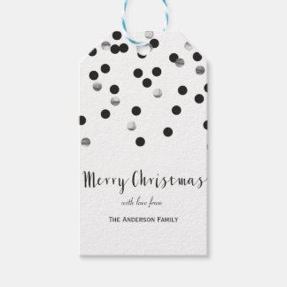 Confetti black & silver Merry Christmas gift tags
