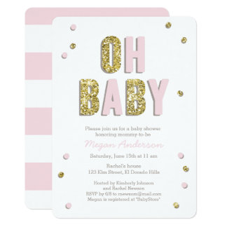 Confetti Bling Pink Gold Baby Shower Invite