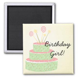 Confetti Cake • Green Birthday Cake Fridge Magnets