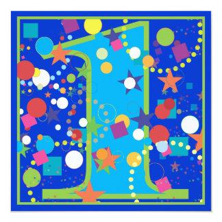 """Confetti Circus 1st Birthday Party Invitation 5.25"""" Square Invitation Card"""