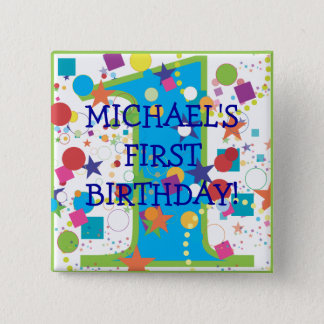 Confetti Circus Number One, First Birthday 15 Cm Square Badge