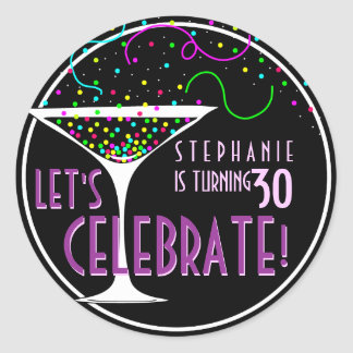 Confetti Cocktail Birthday Round Sticker