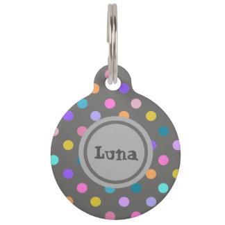 Confetti colors polka dot grey pet id tag
