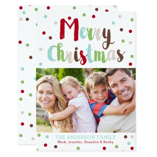 Confetti Colourful Christmas Family Photo Card