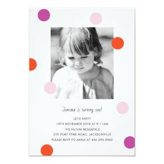 Confetti Dots Birthday Invitation for 1st birthday