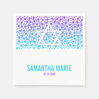 Confetti Dots Purple Teal Bat Mitzvah Disposable Serviettes