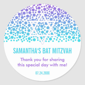 Confetti Dots Purple Teal Bat Mitzvah Favor Classic Round Sticker