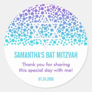 Confetti Dots Purple Teal Bat Mitzvah Favor Round Sticker