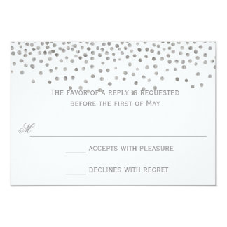 Confetti Dots Silver Wedding Response Cards