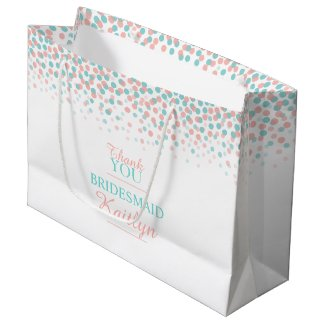 Confetti dots teal coral orange wedding gift bag