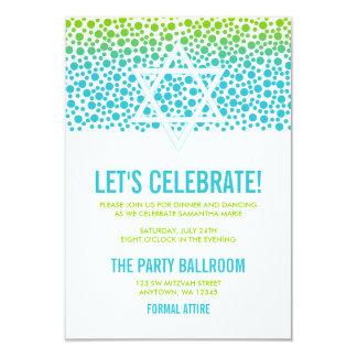 Confetti Dots Teal Green Bat Mitzvah Reception 9 Cm X 13 Cm Invitation Card