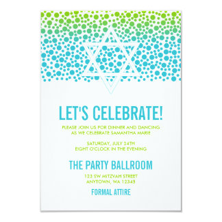 Confetti Dots Teal Green Bat Mitzvah Reception Card