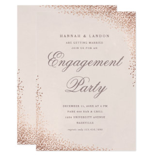 Confetti faux foil engagement party invitation