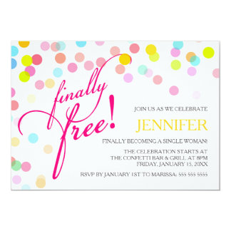 Confetti Finally Free | Divorce Party 13 Cm X 18 Cm Invitation Card