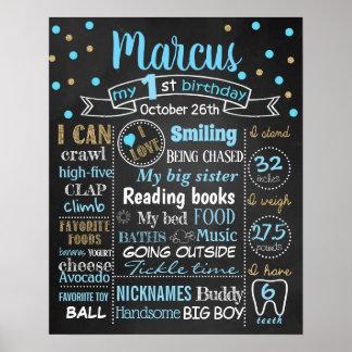 Confetti First Birthday chalkboard sign boy
