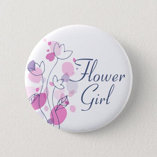 Confetti flower blue girl wedding pin / button