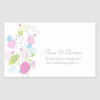 Confetti flower petals wedding thank you sticker