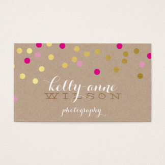CONFETTI GLAMOROUS cute gold foil bold pink kraft Business Card