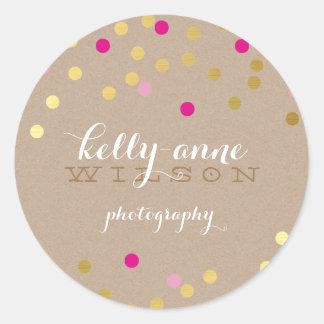 CONFETTI GLAMOROUS cute gold foil bold pink kraft Classic Round Sticker