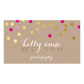 CONFETTI GLAMOROUS cute gold foil bold pink kraft Pack Of Standard Business Cards