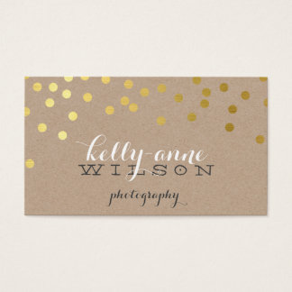 CONFETTI GLAMOROUS cute gold foil bold spot kraft Business Card