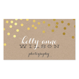CONFETTI GLAMOROUS cute gold foil bold spot kraft Pack Of Standard Business Cards