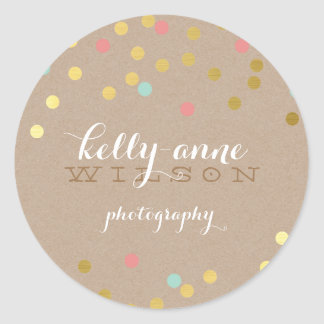 CONFETTI GLAMOROUS cute gold foil coral mint kraft Classic Round Sticker