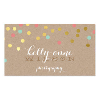 CONFETTI GLAMOROUS cute gold foil coral mint kraft Pack Of Standard Business Cards