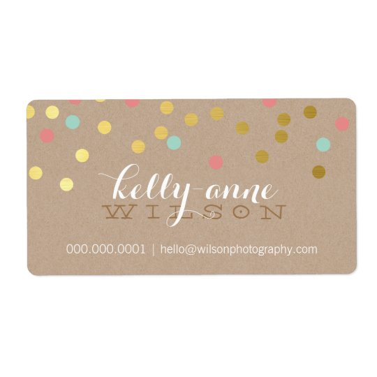 CONFETTI GLAMOROUS cute gold foil coral mint kraft Shipping Label