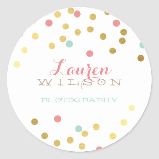 CONFETTI GLAMOROUS cute gold foil coral mint Round Sticker